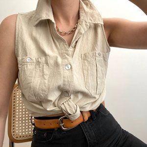 Vintage Silk Pocket Sleeveless Blouse Button Up
